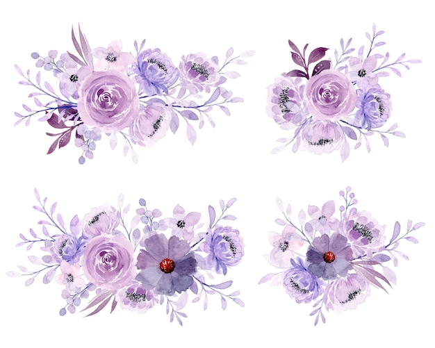 Weiche lila aquarellblumenstraußkollektion