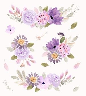 Weiche lila blumengesteck-aquarell-sammlung