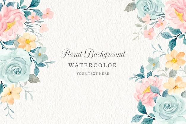 Weicher blumenrahmen aquarellrosenblumenhintergrund