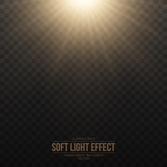 Weicher goldener lichteffekt-transparenter vektor