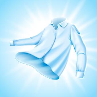 Weiches bequemes hemd mit lichtschein darauf, hellblaue hintergrundillustration