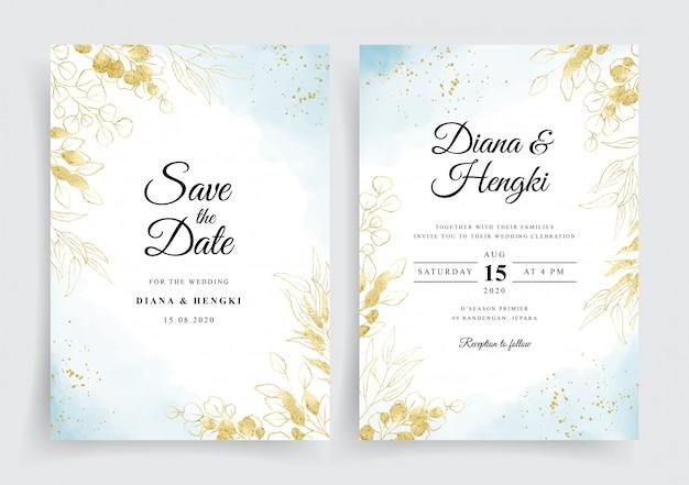 Weiches blau auf hochzeitskarte mit goldenem eukalyptus