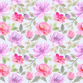 Weiches lila rosa blumenaquarell nahtloses muster