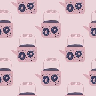 Weiches nahtloses muster der nahtlosen teekannenverzierung. rosa tonpalettengrafik. teekannenelemente mit blumendruck.