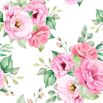 Weiches rosa aquarellblumen nahtloses muster