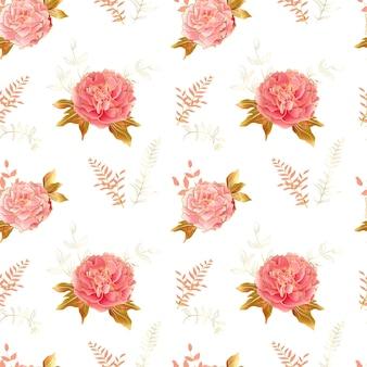 Weiches rosa pfingstrose nahtloses muster mit kalter linie in sanfter farbpalette der landschaft. botanisches mille fleurs dekor für textilien und tapeten