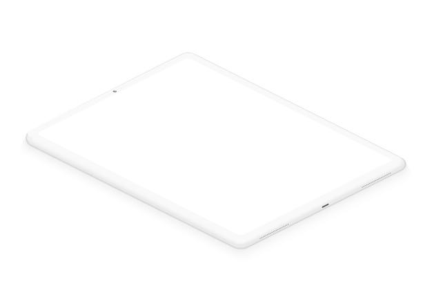 Weiches weißes isometrisches pad-tablet d realistische leere bildschirm-pad-vorlage zum einfügen einer beliebigen benutzeroberfläche