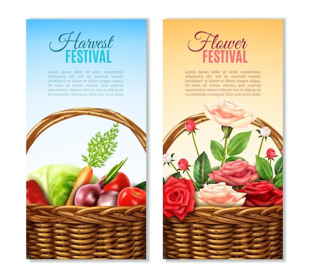 Weidenkorb 2 vertikale banner set