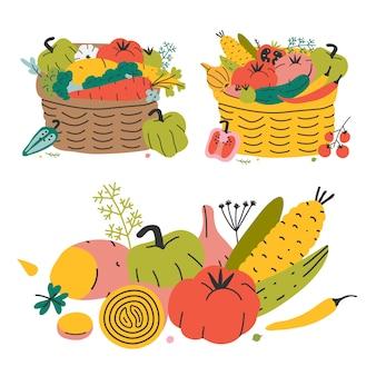 Weidenkorb mit verschiedenem gemüse, herbsternte. bunte hand gezeichnete vektorillustration