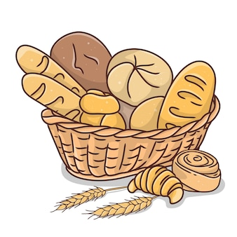 Weidenkorb mit verschiedenen arten von backwaren im doodle-stil bemalt