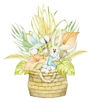 Weidenkorb, spielzeug, blumen, trockene blätter, baumwolle, mohn. aquarell, konzept, boho-stil