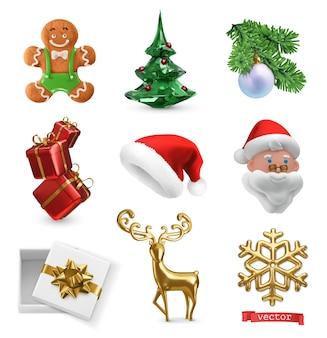 Weihnachten 3d-realistische vektor-icon-set. lebkuchenplätzchen, weihnachtsbaum, geschenkboxen, weihnachtsmann, goldener hirsch, schneeflocke