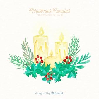 Weihnachten aquarell kerze hintergrund