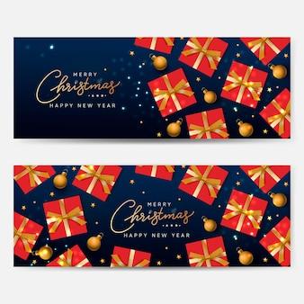 Weihnachten-banner-set urlaub horizontale hintergründe header für die website vector image
