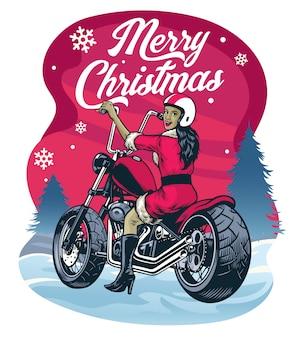 Weihnachten, das frauen im weihnachtsmann-kostümreitzerhackermotorrad grüßt