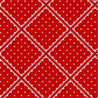 Weihnachten, das nahtloses muster mit geometrischer verzierung strickt. traditionelles weihnachten gestricktes dekoratives muster.