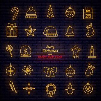 Weihnachten dekorative elemente neonstil