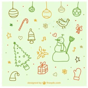 Weihnachten doodles gesetzt