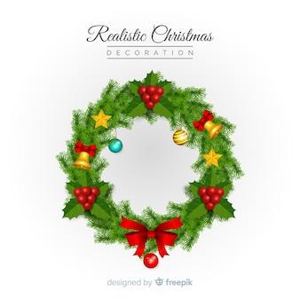 Weihnachten eingekreister realistischer hintergrund des kranzes