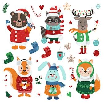 Weihnachten eingestellt mit netten waldtieren