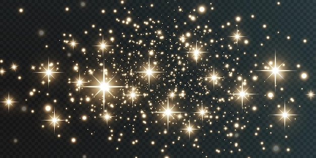 Weihnachten fallende goldene lichter magischer abstrakter goldstaub und blendung festlicher weihnachtshintergrund.