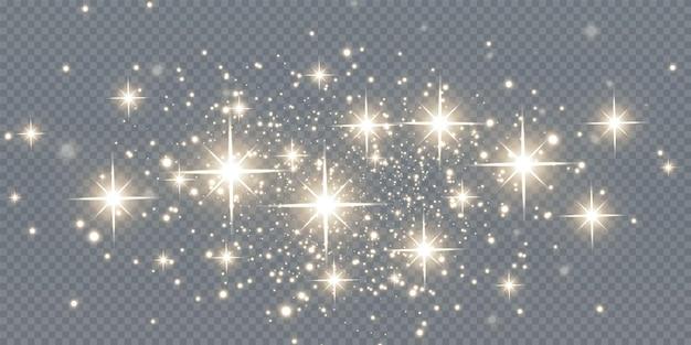 Weihnachten fallende goldene lichter magischer abstrakter goldstaub und blendung festlicher weihnachtshintergrund