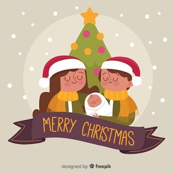 Weihnachten familienszene hintergrund
