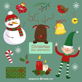 Weihnachten figuren und dekoration in flaches design
