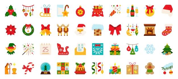 Weihnachten, flache ikonen des neuen jahres stellten, weihnachtsfeiertagssymbol, winterzeitfarbzeichen ein.