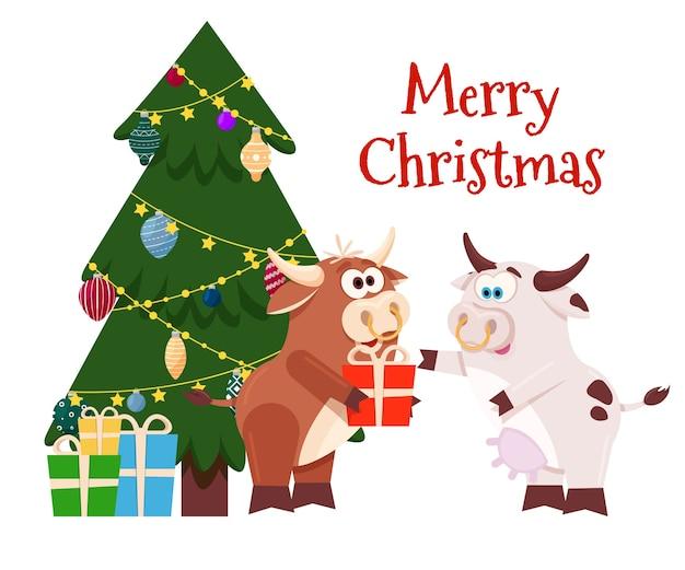 Weihnachten frohes neues jahr mit kuh und ochse
