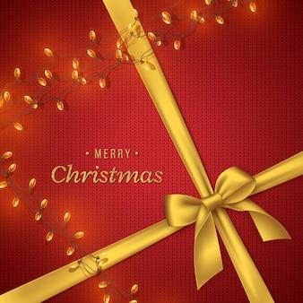 Weihnachten gestrickter hintergrund mit goldener schleife und girlande, glitzertext. dekorative elemente für weihnachtsfeiertagshintergrund. vektor-illustration.