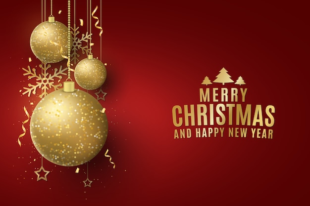 Weihnachten glitzernde goldene kugeln mit beschriftung auf einem roten hintergrund.