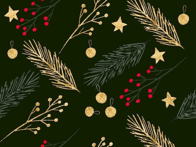Weihnachten grünes nahtloses muster mit goldenen blättern zweig stern dekoration ball tannenbaum fichte