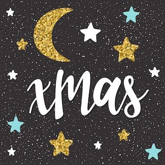 Weihnachten. handgeschriebener schriftzug und handgemachter stern einzeln auf schwarz. doodle handgemachte skizze für design-t-shirt, weihnachtskarte, einladung, weihnachtsposter, broschüren, notizbuch, album etc. gold textur.