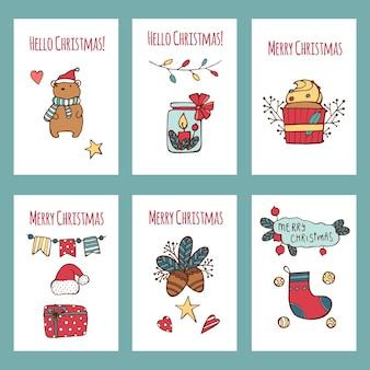 Weihnachten handgezeichnete kartenset.