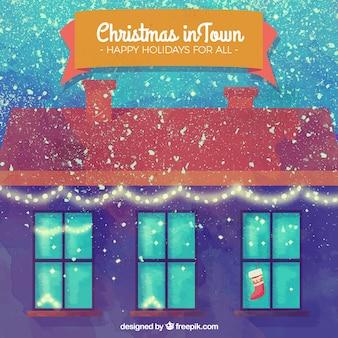 Weihnachten hintergrund des hauses mit aquarelleffekt und spritzer