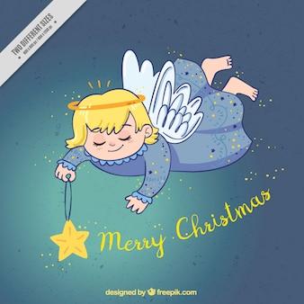 Weihnachten hintergrund mit hand gezeichnet engel und stern
