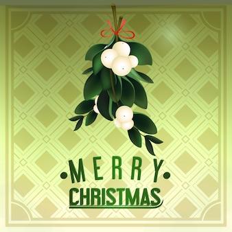 Weihnachten hintergrund mit immergrünen mistelzweig