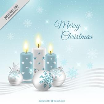 Weihnachten hintergrund mit kerzen und kugeln