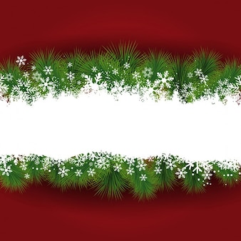 Weihnachten hintergrund mit schneeflocken und tannenzweigen
