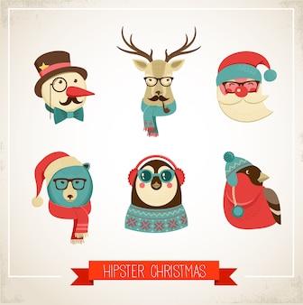 Weihnachten hipster tiere. vektorillustration