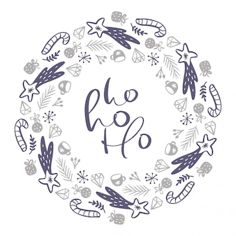Weihnachten ho ho ho skandinavischer kalligraphischer weinlesetext. winter-kranz