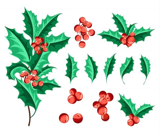 Weihnachten holly berry set.