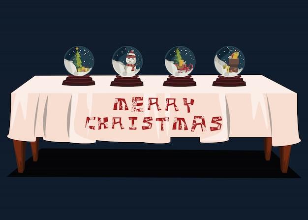 Weihnachten in der glaskugel für dekoration auf tabellenvektorillustration
