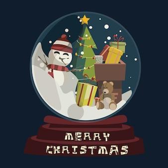 Weihnachten in der glaskugel für dekorationsvektorillustration