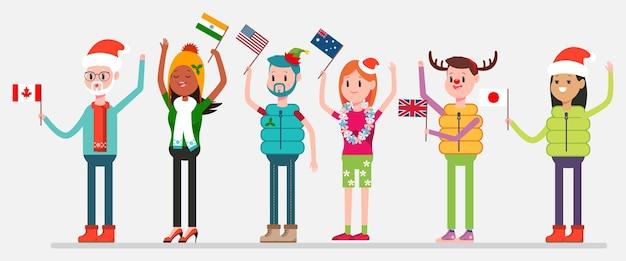 Weihnachten in der welt feiern. glückliche leute in feiertagskostümen mit flaggen von kanada, von den usa, von australien, von indien, von großbritannien und von japan. charaktere von männern und frauen im hintergrund.