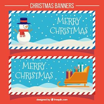 Weihnachten jahrgang banner mit schlitten und schneemann