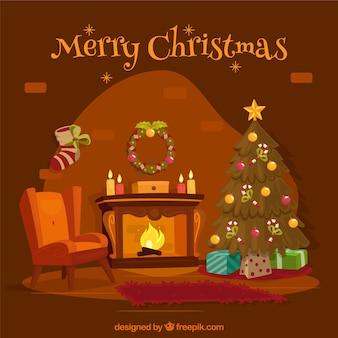 Weihnachten kamin hintergrund