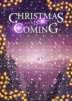 Weihnachten kommt, vertikale fahne mit winterlandschaftsillustration