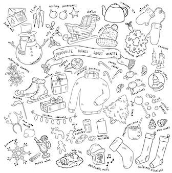 Weihnachten kritzelt objekte